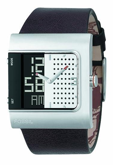 Fossil JR9387 - Reloj analógico y digital de cuarzo para hombre con correa de piel, color negro: Amazon.es: Relojes