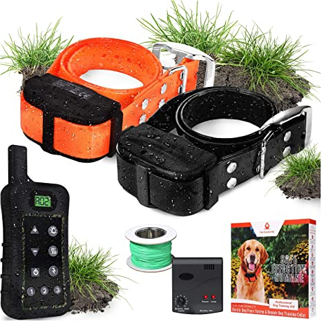 Aboveground//Underground Dog Containment System CEVENE Electric Dog Fence IP66 Waterproof/&Rechargeable Collar, Shock/&Tone Correction