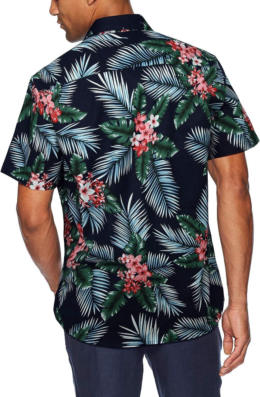 HISDERN Hombre Camisas Hawaianas Funky de Manga Corta Bolsillo Delantero Vacaciones de Verano Aloha Impreso Playa Camisa Informal de Hawaii S-2XL