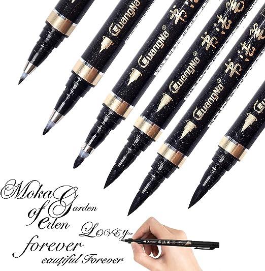 Amazon.com: Rotuladores de escritura a mano Reastar, 6 unidades de rotulador de caligrafía con pincel negro, para letras, escritura, firma, ilustraciones de acuarela, diseño y dibujo artístico (4 tamaños): Office Products