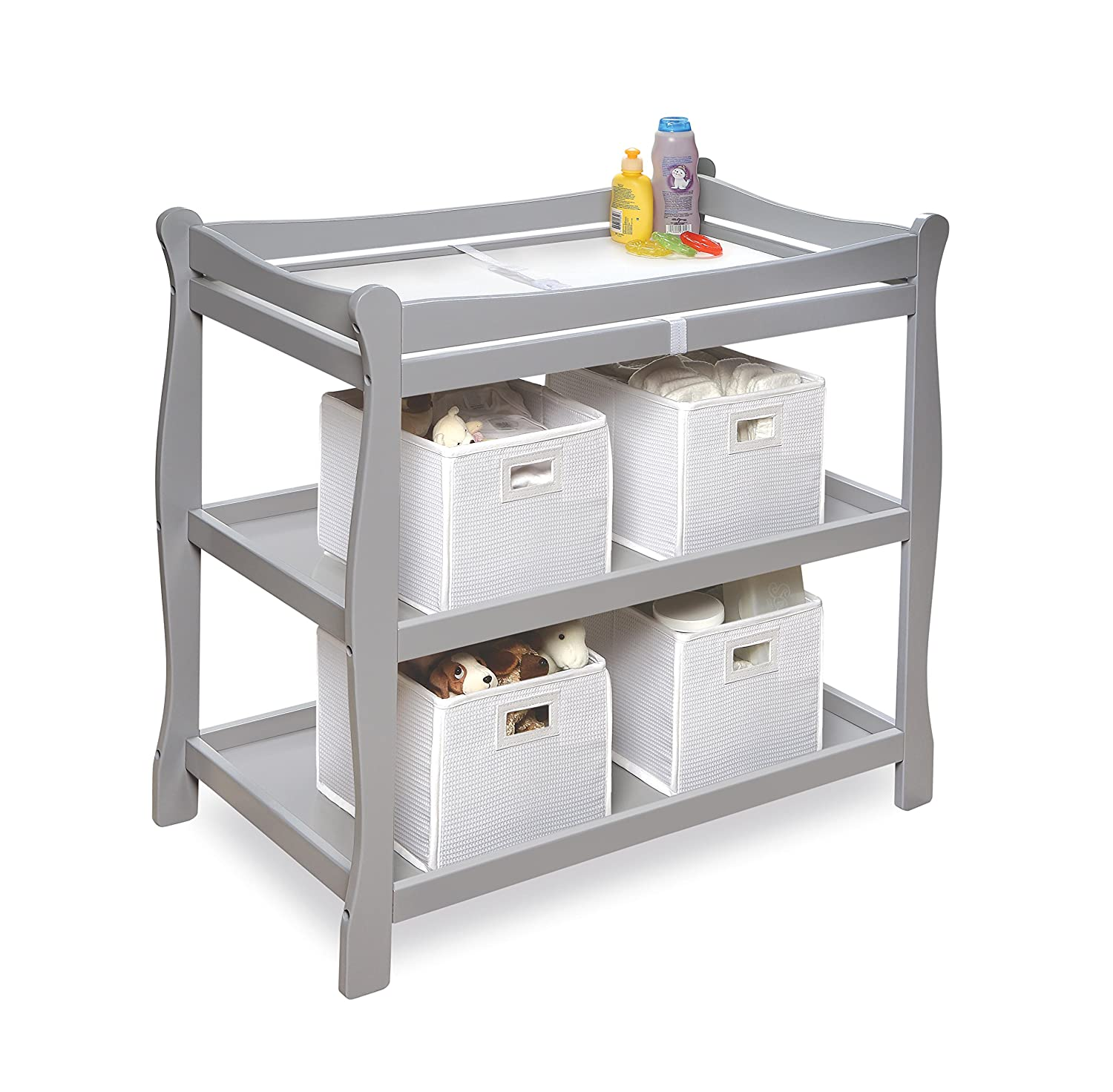 Amazon.com : Badger Basket Sleigh Style Baby Changing Table, Grey : Baby