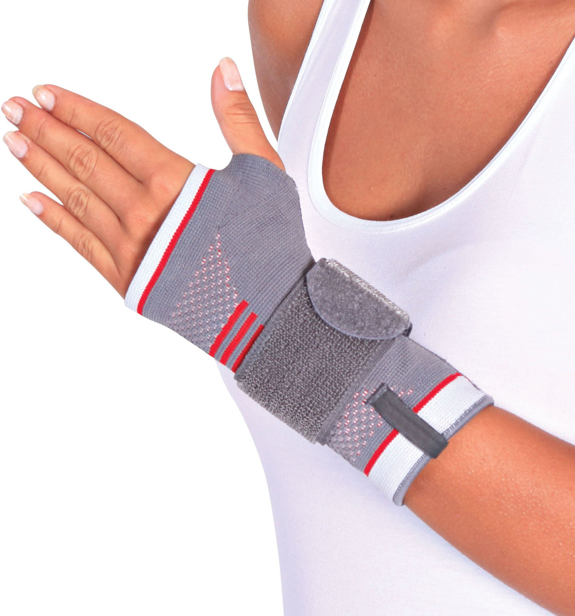 ORTONYX Wrist Support Brace with Splint for Carpal Tunnel Arthritis - S-M/Left Gray/Red