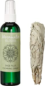 Moonwater Elixirs White Sage Smudge Spray for Cleansing and Clearing Energy (4 Ounce) - New Age Smudge Stick Organic California White Sage Smudge Bundle (Pack of 1)