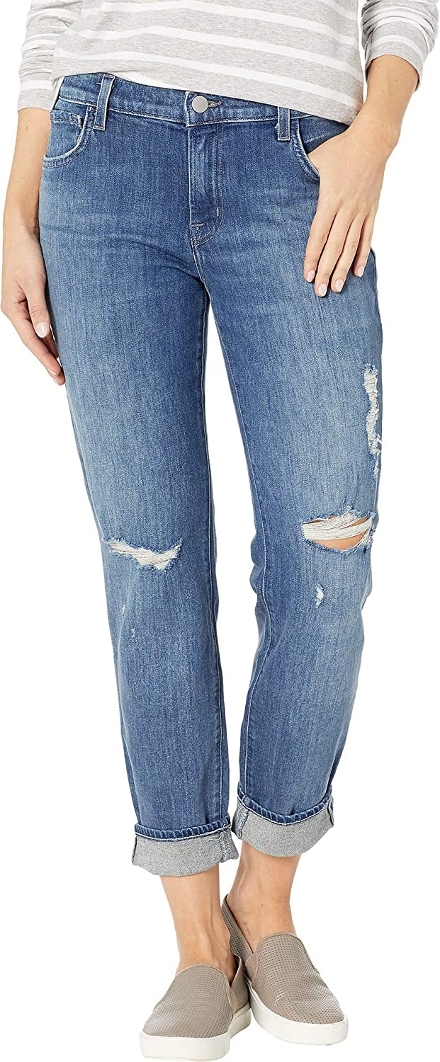 J Brand Womens Johnny Mid-Rise Boy Fit Jeans in Redemption Destruct