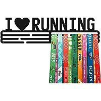 United Medals I Love Running - Soporte de acero con revestimiento de polvo negro (3 barras para colgar hasta 48 medallas…