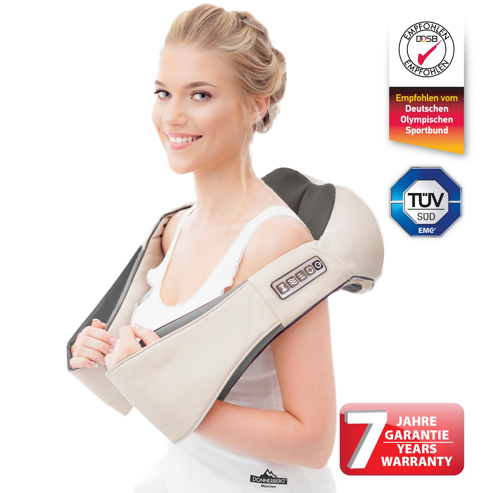 Donnerberg ® back and neck massager with infrared heat – Premium German brand – 7 years warranty – adjustable functions – massage for home, office, car use