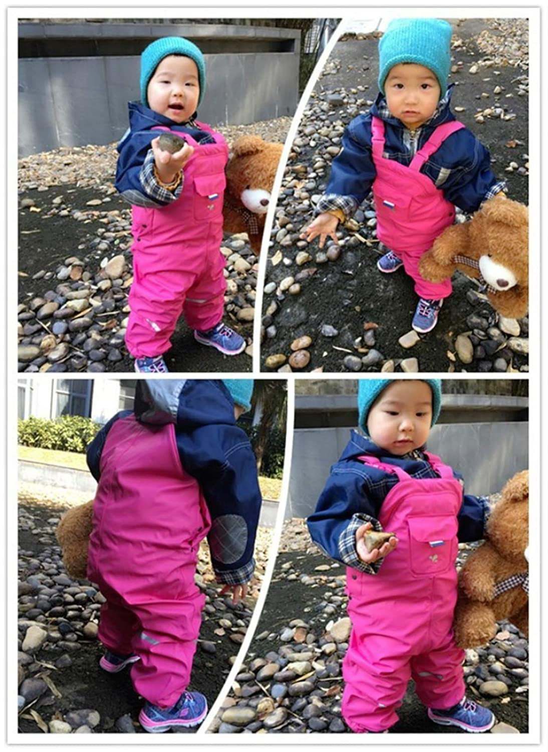 Evan Fordd Girl Waterproof Overalls Thick Warm Autumn Spring Fleece Lining Trousers PU Loose Pants