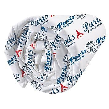 CTI 043749 PSG Red Score Drap Housse Coton Bleu 140 x 190 cm
