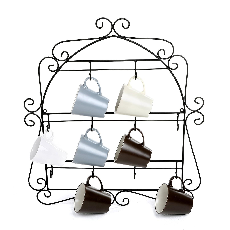 MyGift Wall-Mounted Mug Rack, 10 Hook Scrollwork Framed Kitchen Organizer, Black SPOMHNK3408