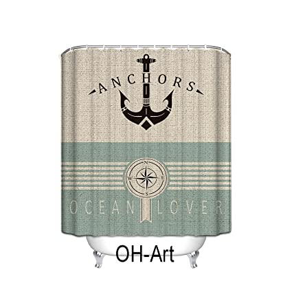 Incroyable Linen Pattern Nautical Anchor Sailor Sea Directions Polyester Fabric Shower  Curtain Bathroom Decor,72u0026quot;