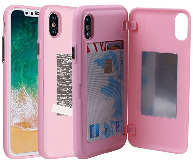 Amazon Com Iphone X Case Credit Card Holder Id Slot Mirror Card