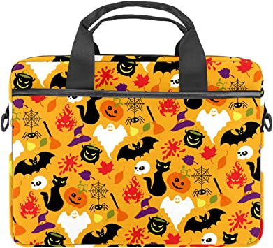 Vintage Halloween Bat with Night Sky Laptop Bag Case Sleeve Briefcase Computer Organizer for Women Men 14