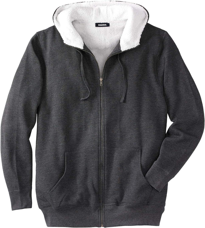 KingSize Men's Big & Tall Sherpa-Lined Fleece Zip Hoodie - Big - 3XL, Heather Charcoal Fleece Jacket at  Men's Clothing store