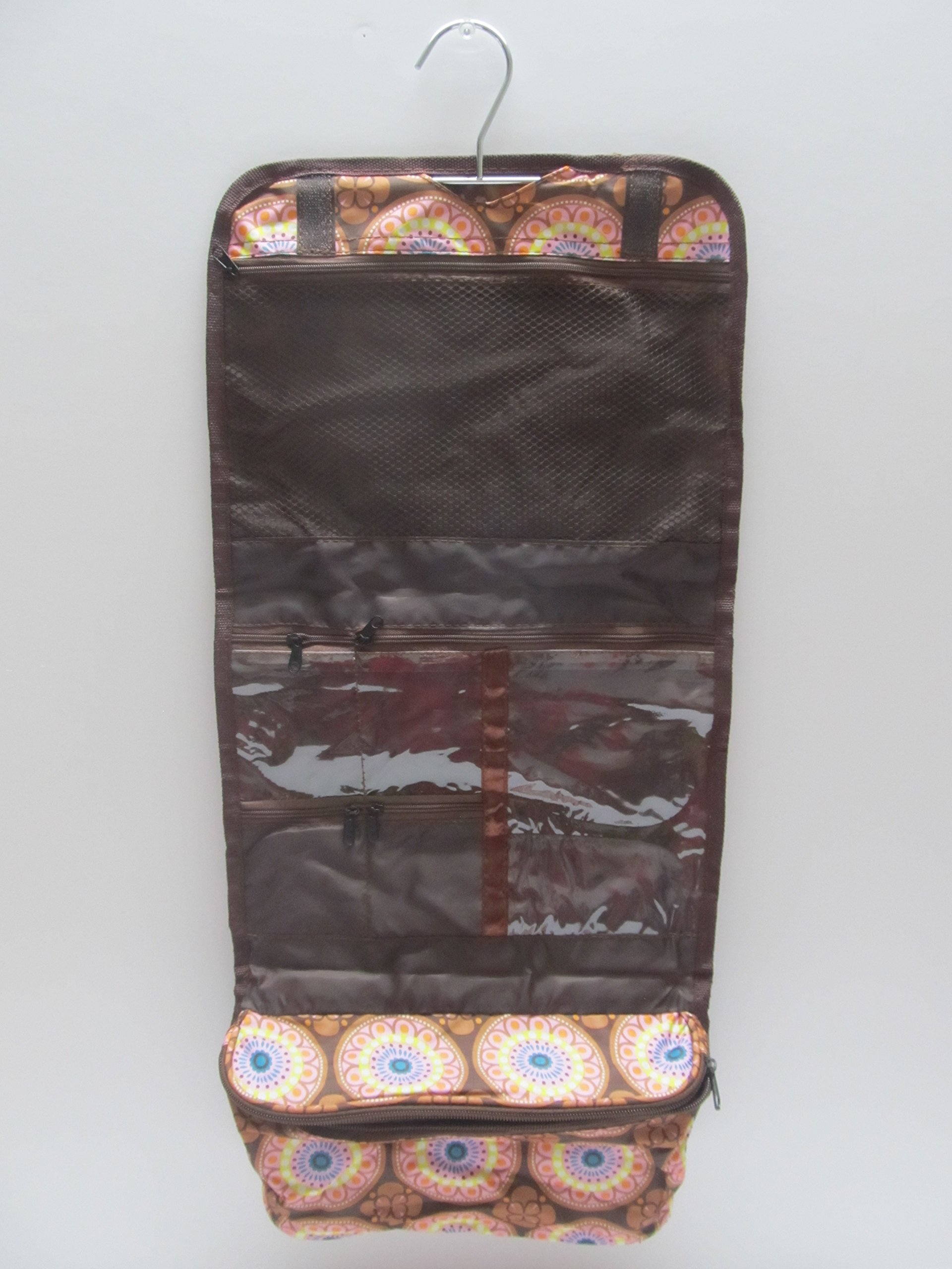 Hanging Cosmetic Organizer Makeup Bag with Silver Hook -Brown Flowers
