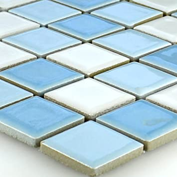 Keramik Mosaik Fliesen Blau Weiss Mix 25x25x5mm Amazon De Baumarkt