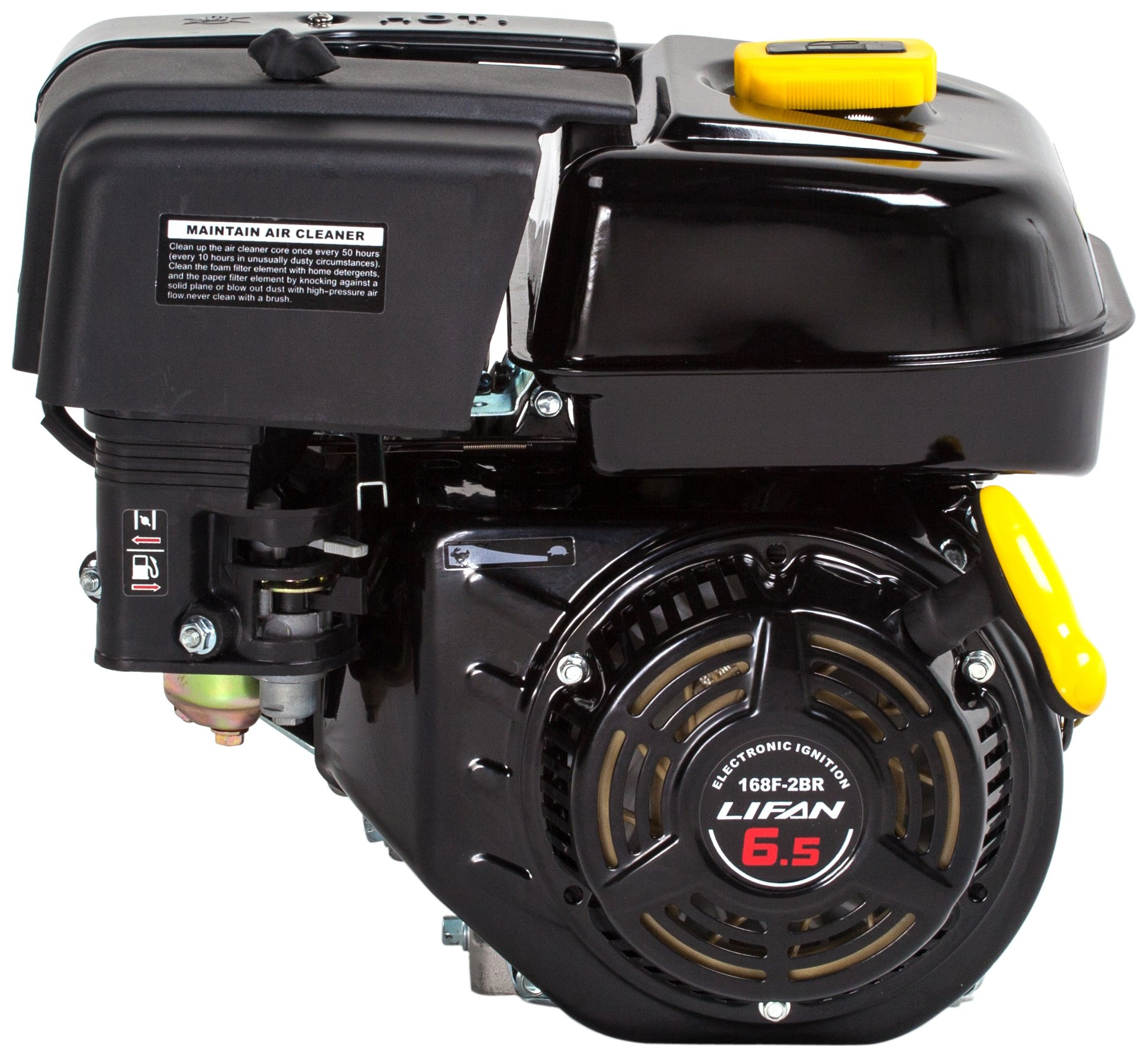 Lifan LF168F-2BRQ 6.5 HP 196cc 4-Stroke OHV Industrial Grade Gas Engine with 2:1 Centrifugal Wet Clutch Reduction, Recoil Start, and Universal Mounting Pattern