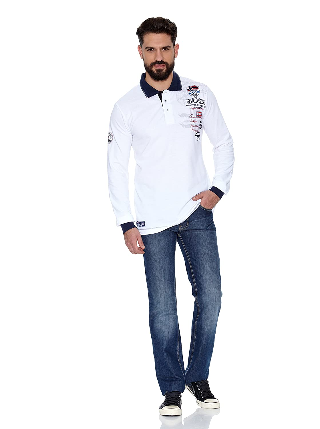 Geographical Norway Polo Manga Larga ML Karite LS Men 401 Blanco ...