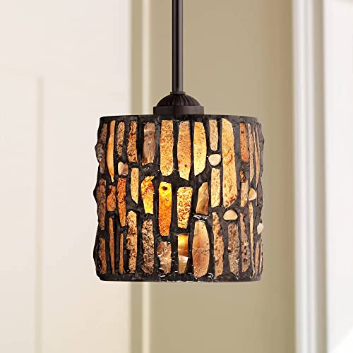 Strada Mosaic Bronze Mini Pendant Light 7 Wide Rustic Tiffany Style Art Glass Fixture for Kitchen Island Dining Room – Robert Louis Tiffany