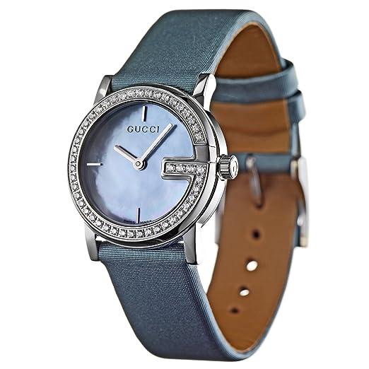 Gucci 101 L YA101508 - Reloj analógico de cuarzo para mujer, correa de tela color verde: Amazon.es: Relojes