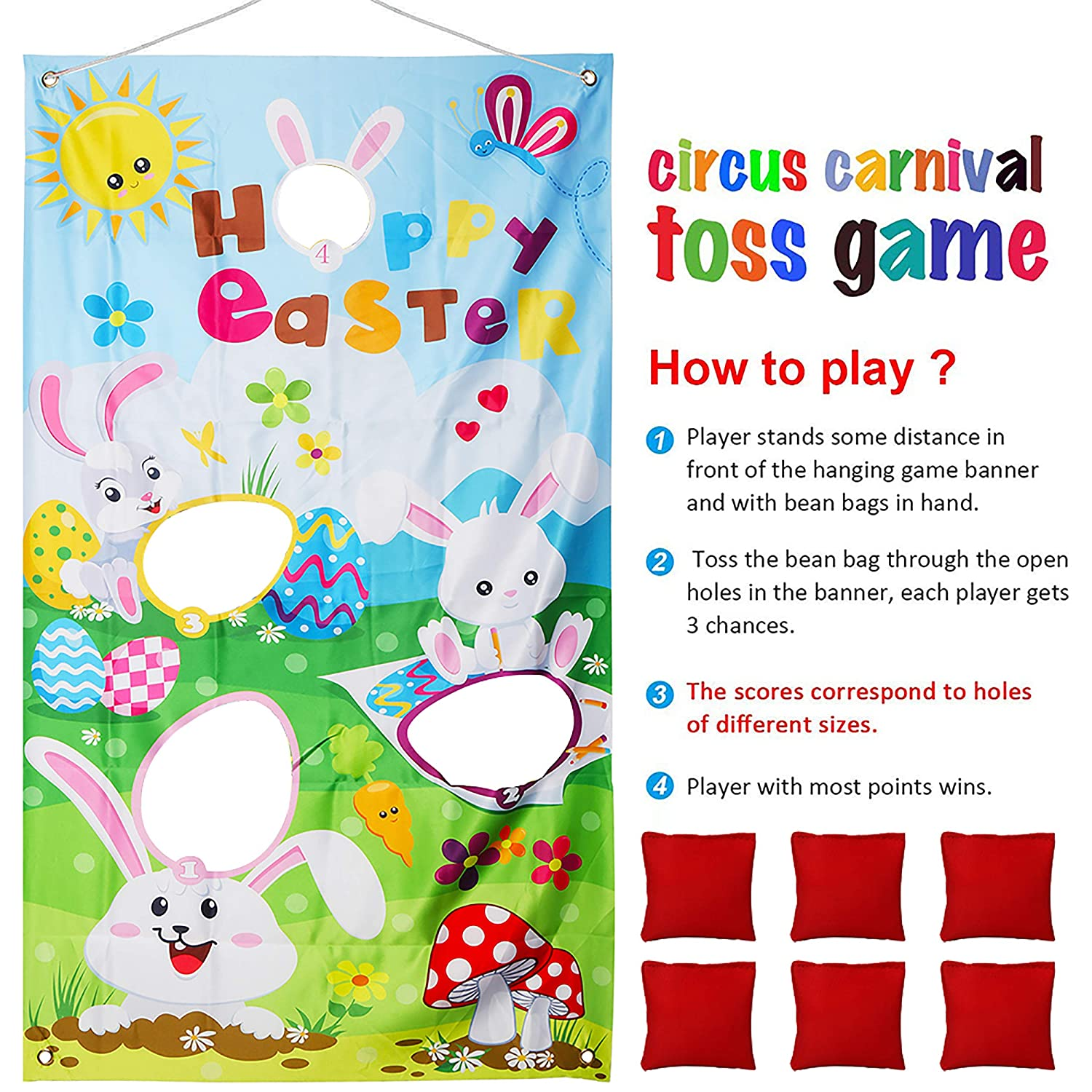 FINGOOO Easter Toss Game with 6 Bean Bags Indoor Outdoor Bean Bag Game Sets for Kids and Adults,Perfect for Easter Decorations and Suppliers