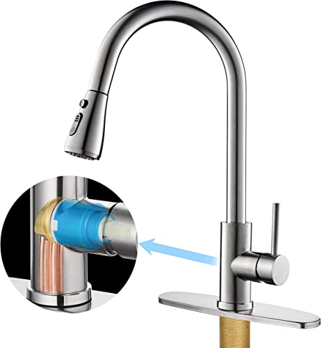 Kitchen Faucet with Pull Down Sprayer, Single Handle High Arc Stainless Steel and Solid Brass Main Body Kitchen Sink Faucet Brushed Nickel Finish