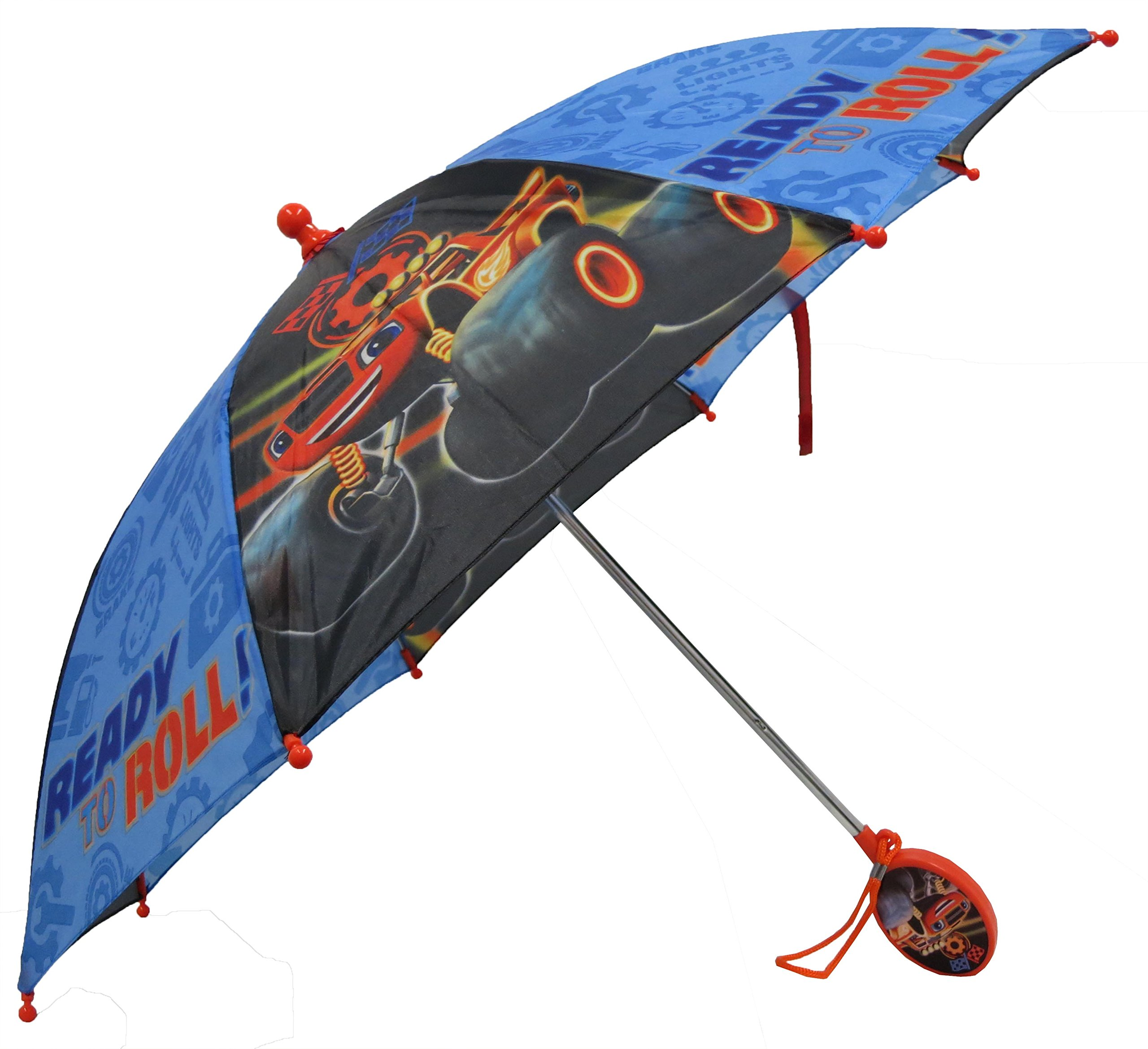 Nickelodeon Little Boys Blaze Character Rainwear Umbrella, Black/Blue, Age 3-7 by Nickelodeon (Image #1)