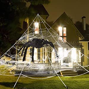 UNGLINGA Giant Yard Halloween Decorations Outdoor Spider Web with Big Spider and Stretch Cobweb Set Party Outside Decor Favor Triangular Mega Web 23 x 17 ft