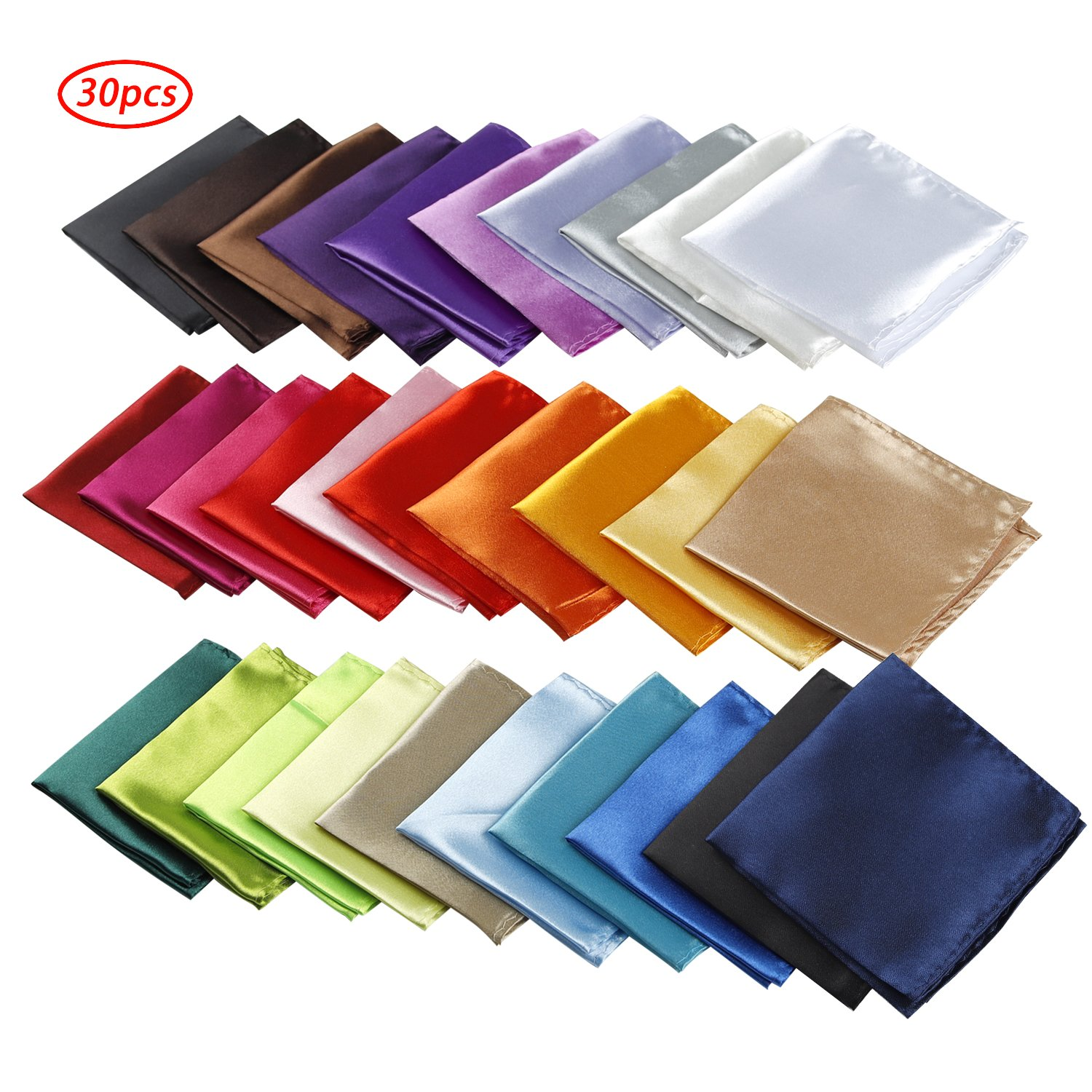 30 PCS Mens Pocket Squares Handkerchief For Wedding Party ( 30 Kinds of Colors)