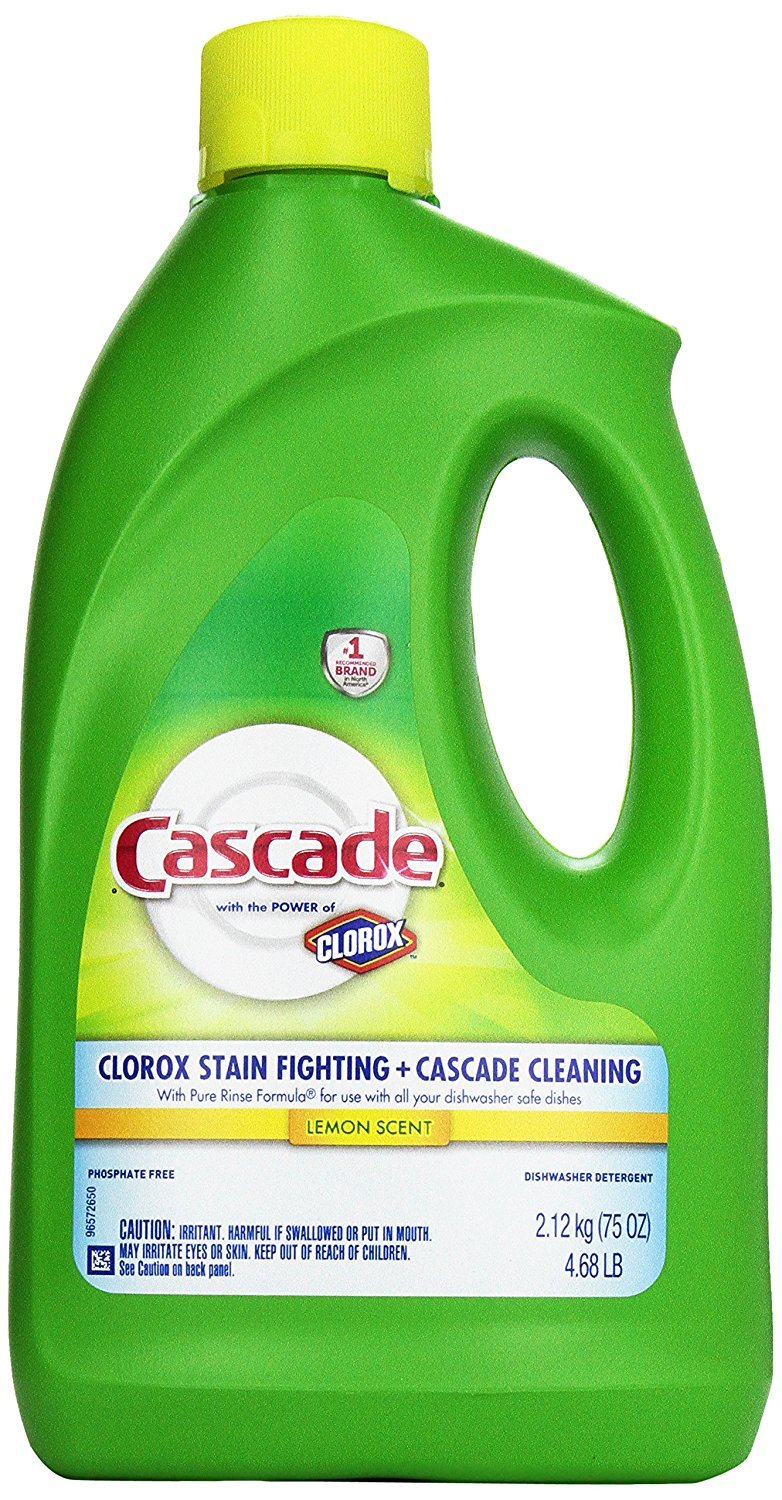 Cascade Gel Dishwasher Detergent, with the power of Clorox, Lemon Scent 75 Oz - Pack of 3