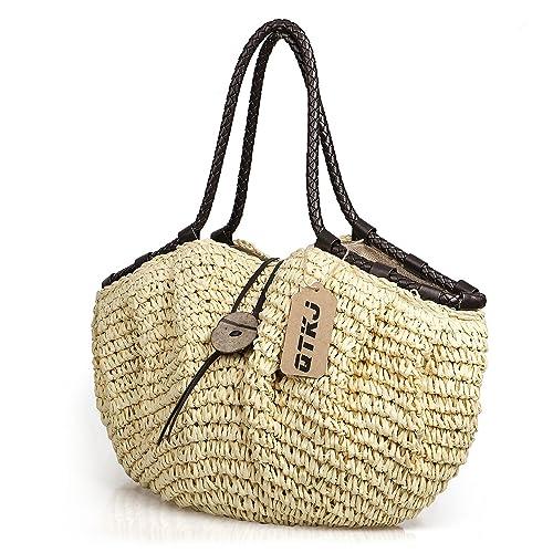 Amazon.com: Forma de almohada bolso de paja, mujeres tela ...