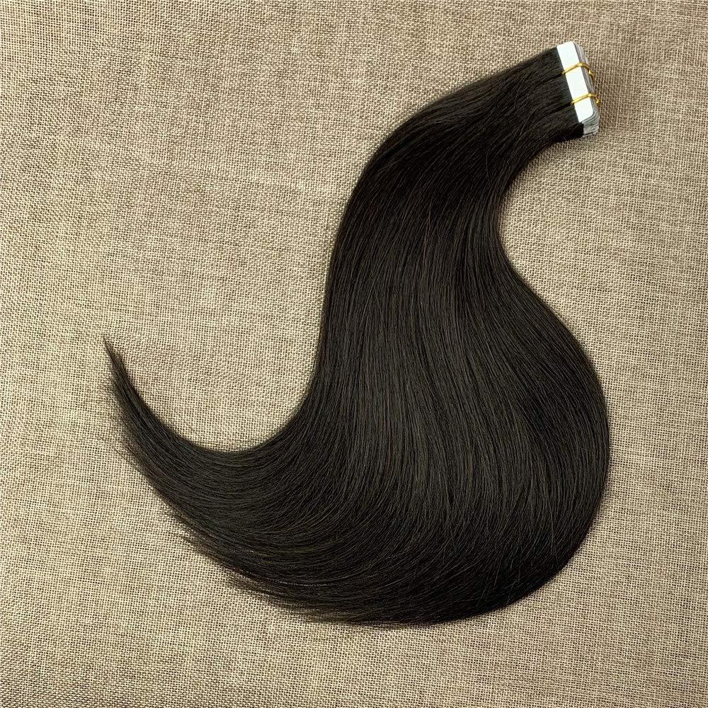 Komorebi #1B Natural Black-16Inch Tape in Human Hair Extensions 20pcs 30g Straight Human Hair Seamless Skin Weft Extensions 100% Human Hair