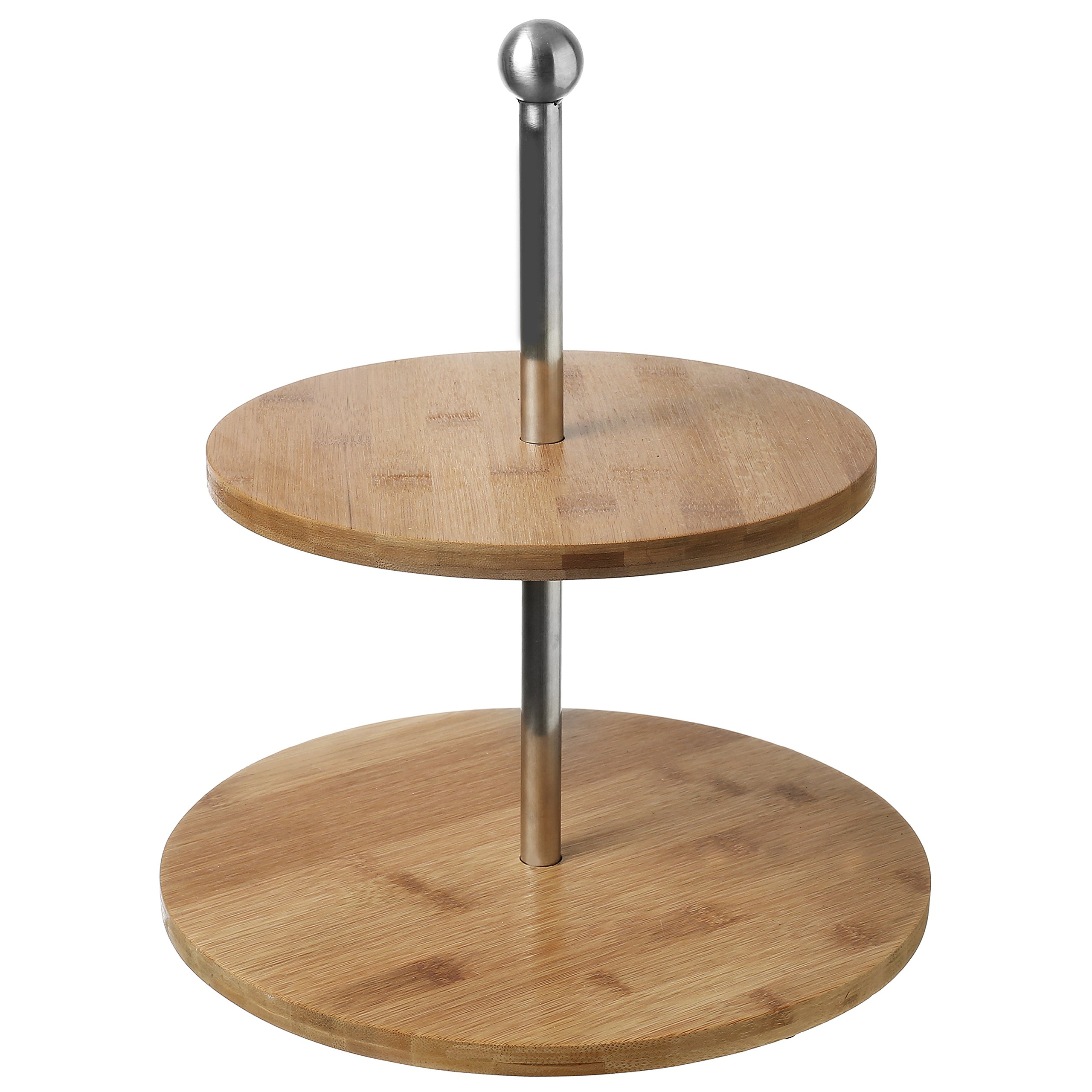 2-Tier Bamboo & Stainless Steel Cupcake Stand, Dessert & Appetizer Tower Trays