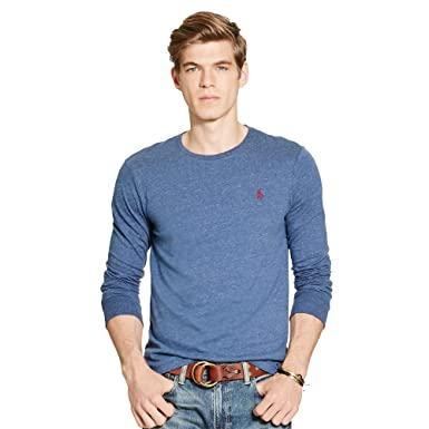 c847f51793e81d Polo Ralph Lauren Mens Custom-Fit Long Sleeve Crew Neck T-Shirt (X-Large