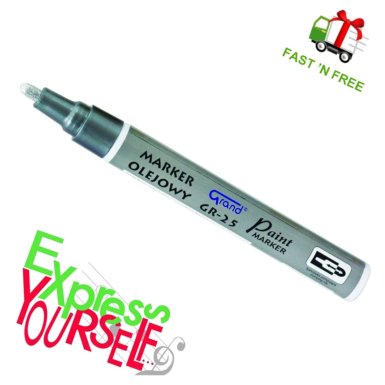 Silver Paint Marker Oil Based Waterproof Pen Wood Glass Plastic Tyre Rubber G