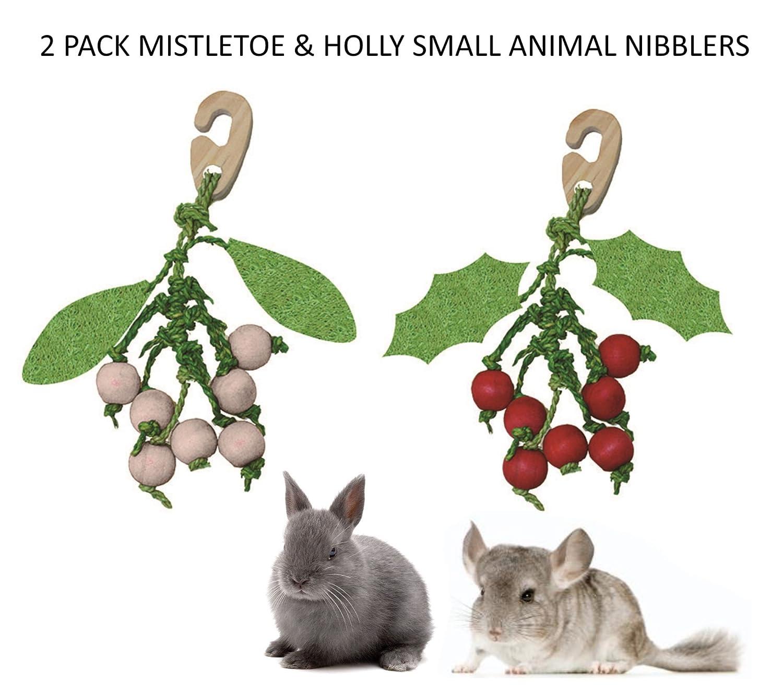 2 PCK HAPPYPET SMALL ANIMAL CHRISTMAS HANGING GNAW TREAT HOLLY & MISTLETOE VINES
