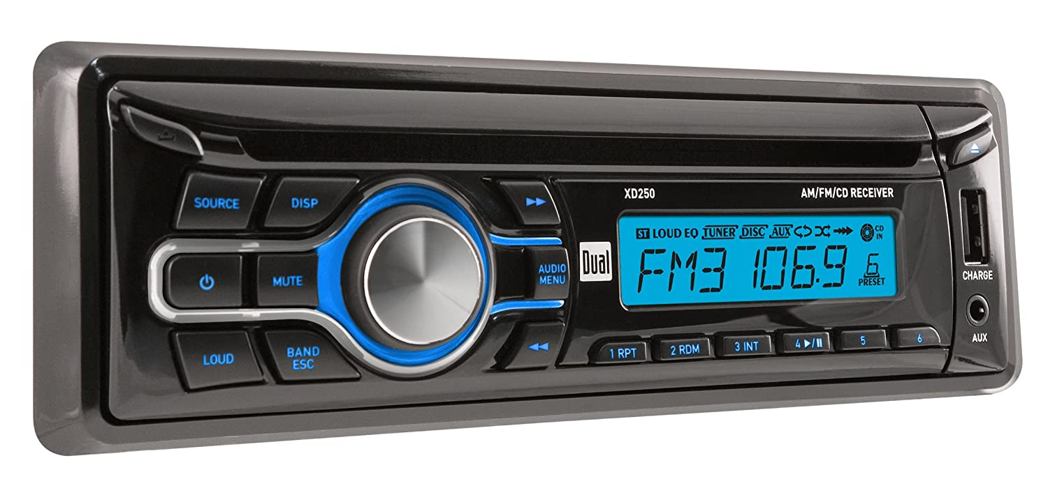 amazon com: dual electronics xd250 multimedia detachable lcd single din car  stereo with built-in cd, usb, mp3 & wma player: car electronics