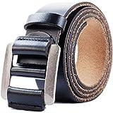 Cinturón de Cuero Genuino Para Hombres - Cinturones de Vestir Clásicos Ajustables Para Hombres Sin Agujeros Color Negro y Marrón