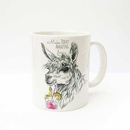 Taza de café taza de café taza alpaca con Long Drink y texto en inglés