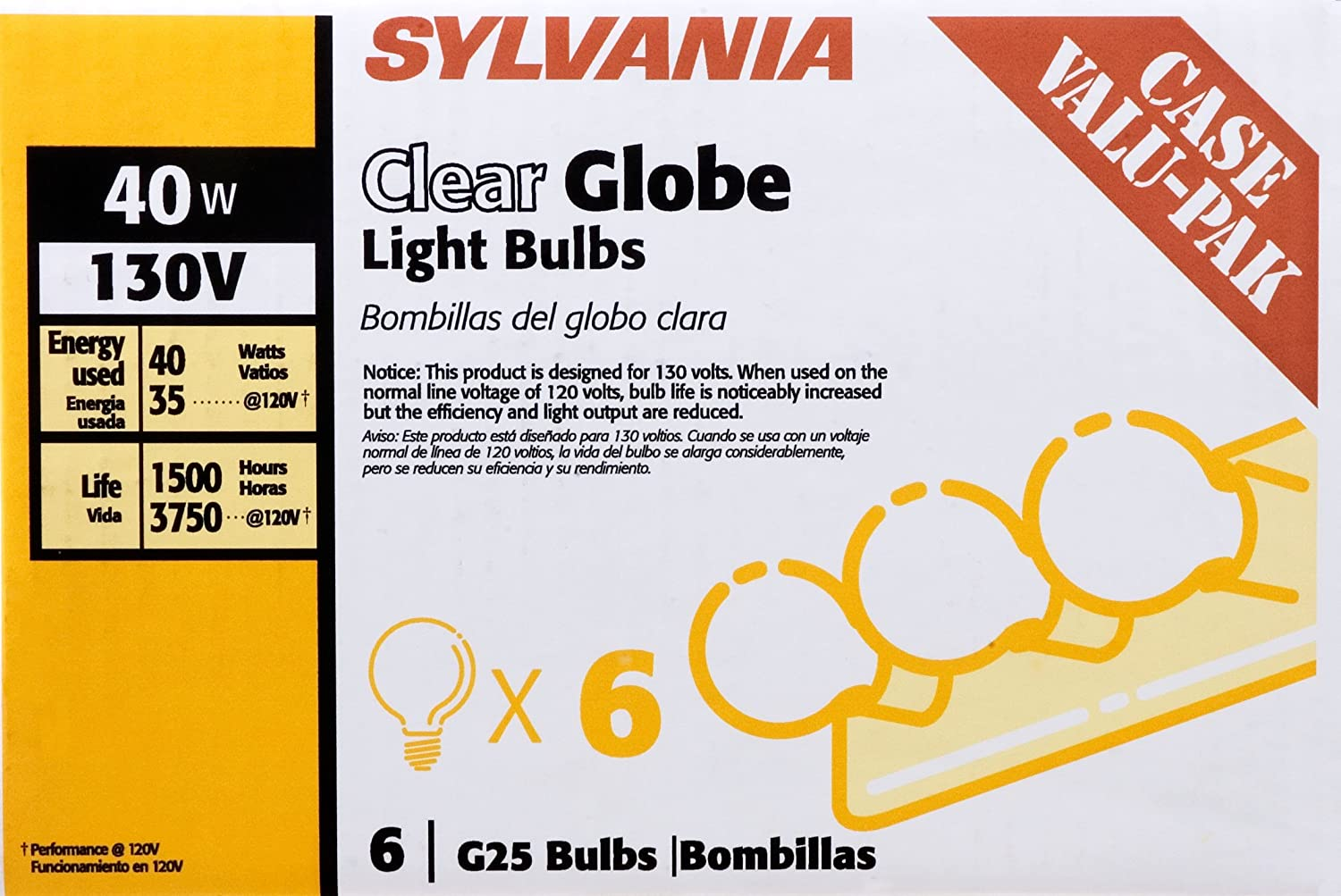 Sylvania 14191 130-Volt 40-Watt G25 Clear Globe Case Value Pack Incandescent Bulb - Sylvania Globe Light Bulbs - Amazon.com