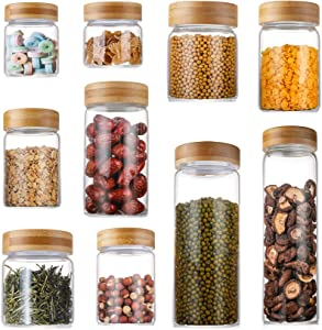 Lawei Set of 10 Glass Food Jars with Bamboo Lids - Food Storage Jars Glass Canister Set for Candy, Cookie, Rice, Sugar, Flour, Pasta, Nuts