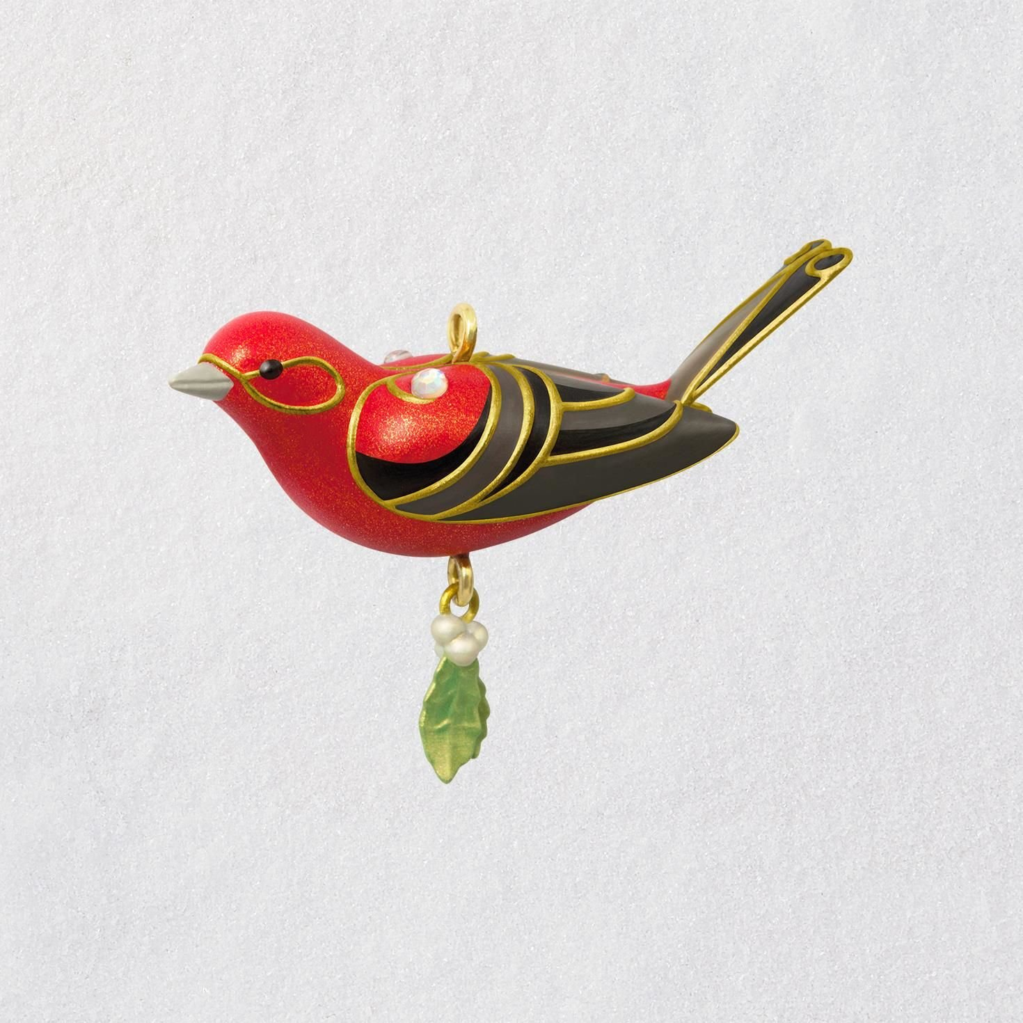 Hallmark Keepsake Mini Christmas Ornament 2018 Year Dated, Red Tanager Bird Miniature, 1.13''