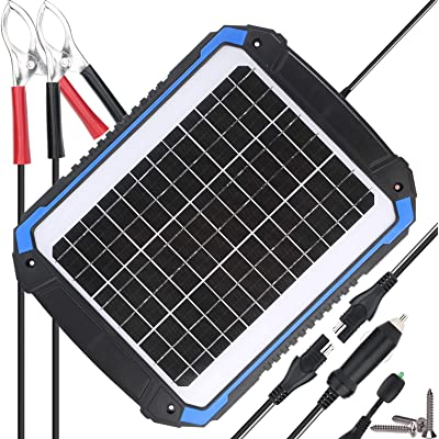 SUNER POWER 12V Solar Car Battery Charger & Maintainer - Portable 14W Solar Panel Trickle Charging Kit for Automotive, Motorcycle, Boat, Marine, RV, Trailer, Powersports, Snowmobile, etc.: Garden & Outdoor