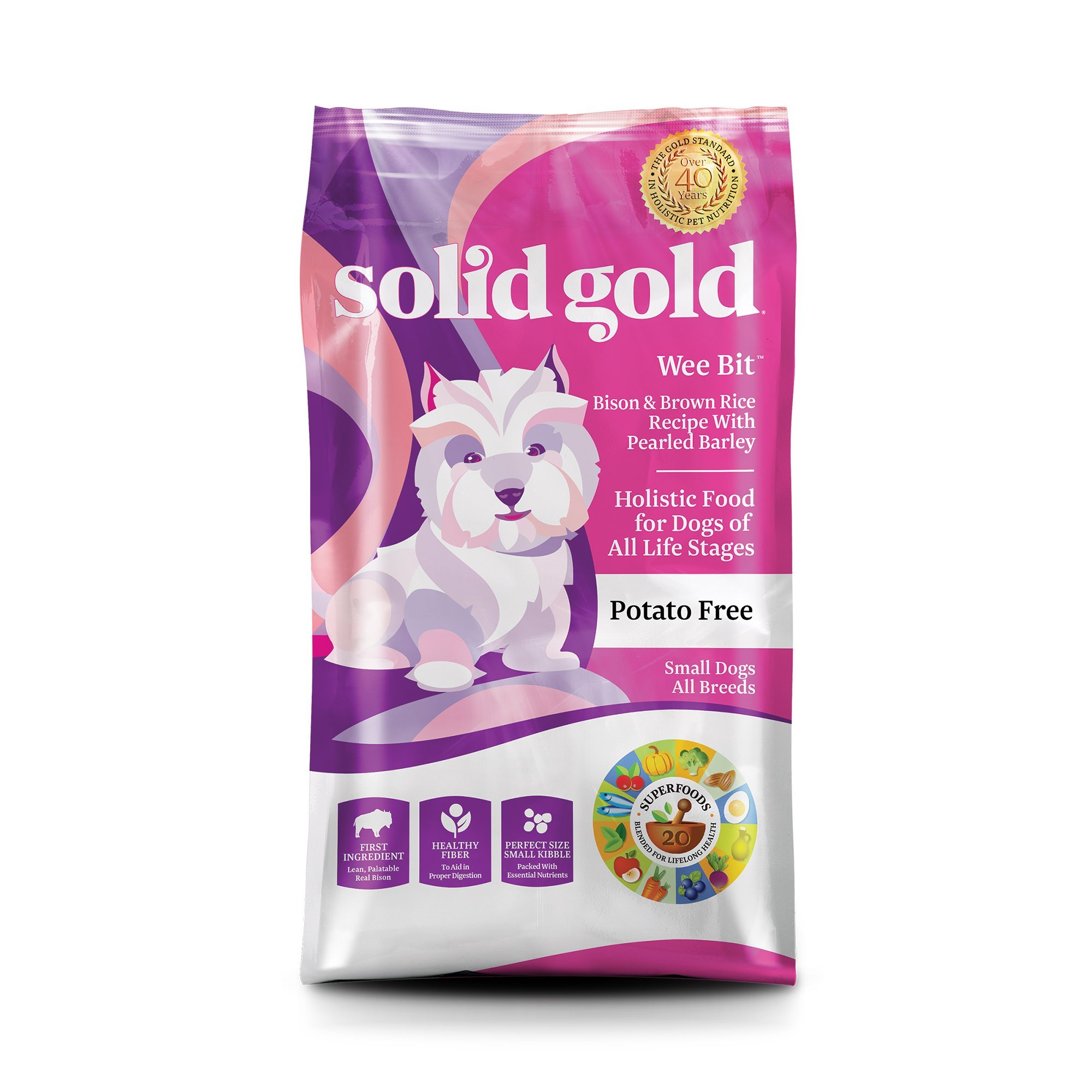 Solid Gold Wee Bit Holistic Dry Dog Food, Bison and Brown Rice with Pearled Barley, 12lbs, 12 LBS