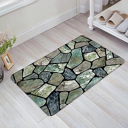 Amazon.com: HomeCreator Flagstone Green Grey Marble Stone Door Mats ...