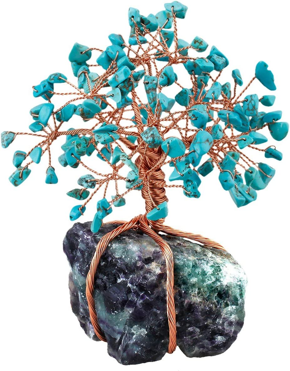 mookaitedecor Howlite Green Turquoise Crystal Tree, Raw Crystals Fluorite Base Bonsai Money Tree for Wealth and Luck