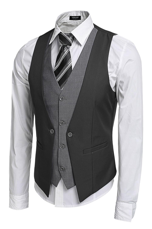 COOFANDY Men's 4 Button Casual Business Suit Dress Vest for Jacket Shirt Blazer