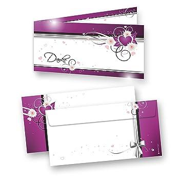 Danksagungskarten Hochzeit Herzen (10 Sets) sehr elegante ...