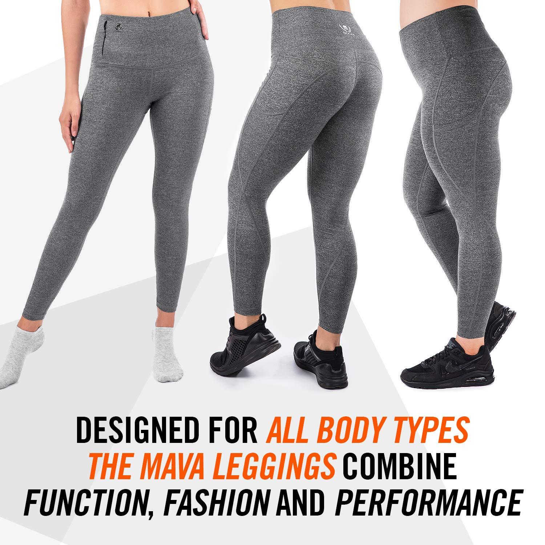 b25170280e8e3 Mava High Waist Yoga Pants with Pockets -Tummy Control for Workout ...