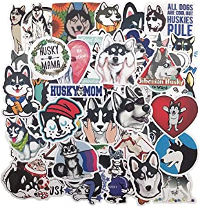 Husky Stickers Cute Dog Lovely Animal, 48PCS No-Duplicate Sticker Pack, Vinyl Waterproof Stickers and Decals for Laptop, Water Bottle, Hydro Flask, Notebook, Luggage