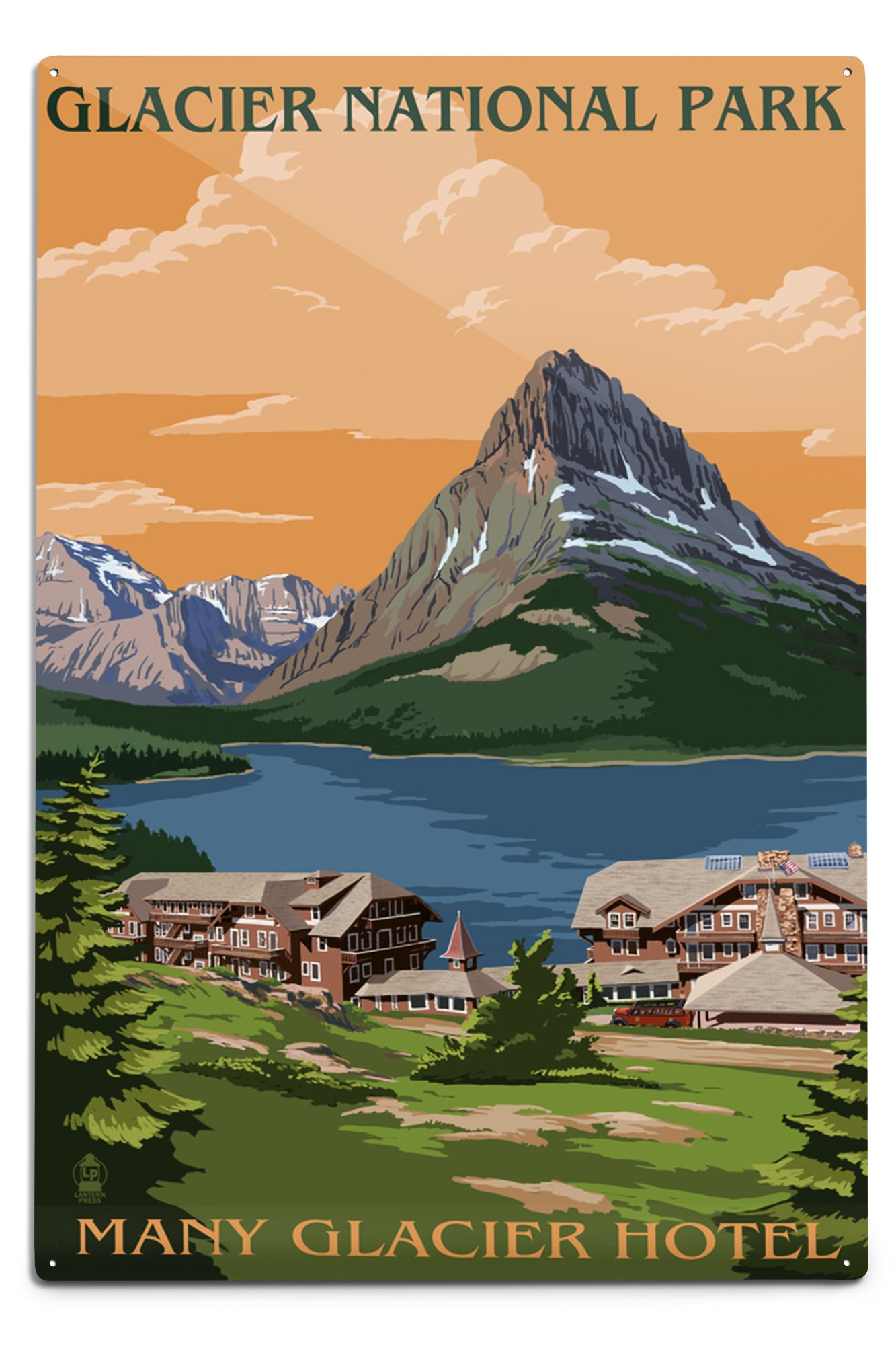 Lantern Press Glacier National Park, Montana - Many Glacier Hotel (12x18 Aluminum Wall Sign, Wall Decor Ready to Hang)